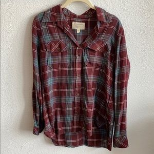 Burgundy and green light flannel